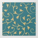 Baroque Design – Gold on Teal by nataliepaskell