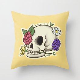 Flowery Skull Throw Pillow