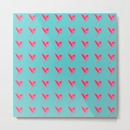 Pink birds flying pattern Metal Print