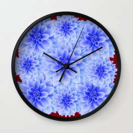 BLUE WHITE DAHLIA FLOWERS IN CHOCOLATE BROWN Wall Clock