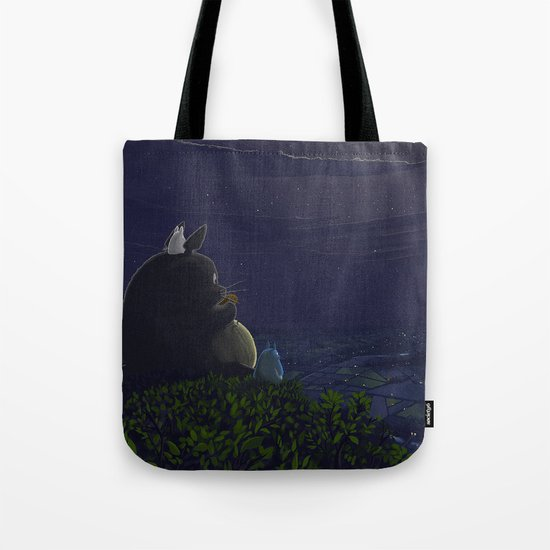 Totoro playing the ocarina Tote Bag