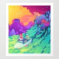 ponyo Art Prints featuring Ponyo by Jen Bartel