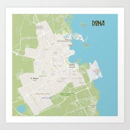 Minimalist Modern Map of Doha, Qatar A Art Print