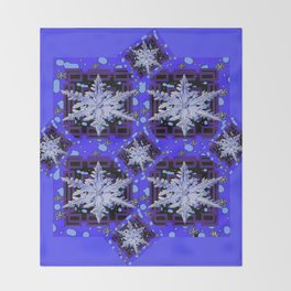 BLUE WINTER HOLIDAY SNOWFLAKES PATTERN ART Throw Blanket