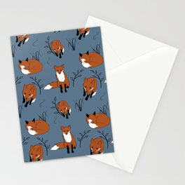 foxes in the woods pattern blue Stationery Cards