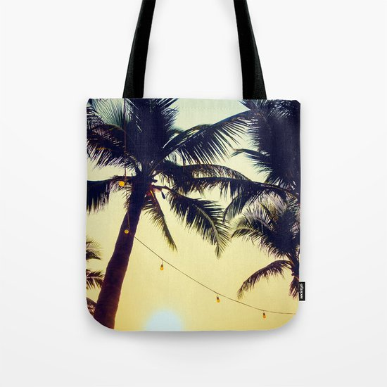Vintage Palm trees with patio lanterns Tote Bag