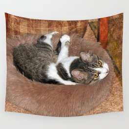 In Her Cat Bed Wall Tapestry