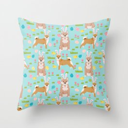 Shiba Inu dog breed easter bunny dog costume pet portrait dog patterns Throw Pillow