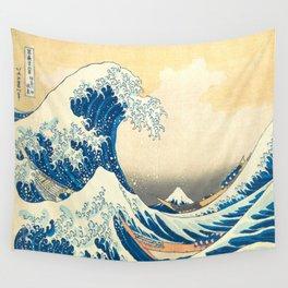 Japanese Woodblock Print The Great Wave of Kanagawa by Katsushika Hokusai Wall Tapestry