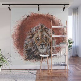 African Lion in Circle Wall Mural