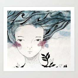 One With the Sea // ink //watercolor   Art Print