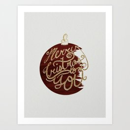Merry Christmas Typographic Ornament Art Print