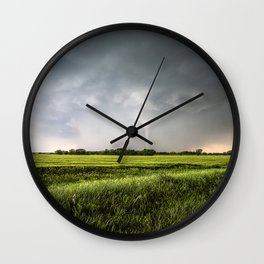 White Tornado - Twister Emerges from Rain Over Field in Kansas Wall Clock
