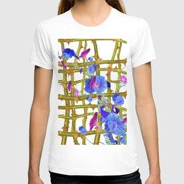 BLUE MORNING GLORIES THORN LATTICE DESIGN T-shirt