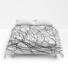 Black line doodle single line Comforters