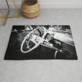 Vintage Car Interior Black White Rug