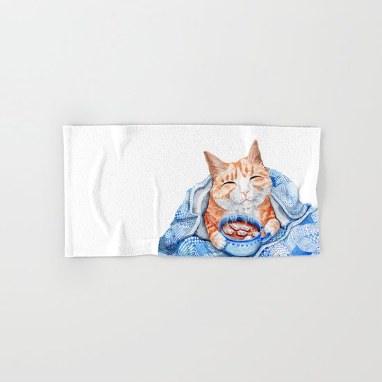 Happy Cat Drinking Hot Chocolate Hand & Bath Towel