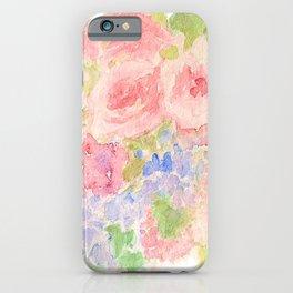 Garden Bouquet Watercolor Wedding Pink Roses iPhone Case