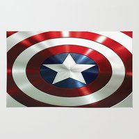 steve rogers Area & Throw Rugs featuring Captain Steve Rogers Shields  by neutrone