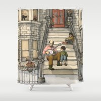 banjo Shower Curtains featuring Banjo Man by Studio Castillo
