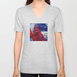 Blue Red Acrilic  Unisex V-Neck