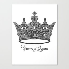 County of Queens | NYC Borough Crown (GREY) Canvas Print