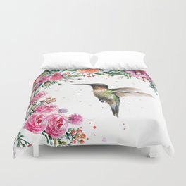 Hummingbird and Flowers Watercolor Animals Duvet Cover