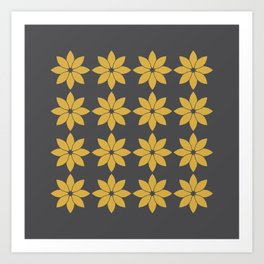 Minimalist Flowers Pattern (Charcoal Black, Spicy Mustard) Art Print