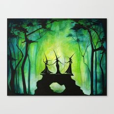Emerald Forest Council - Halloween Witches Canvas Print