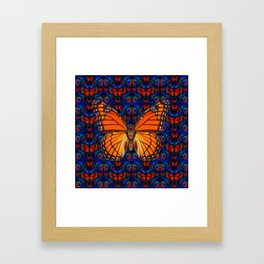 ORANGE BUTTERFLIES  & DARK BLUE ART PATTERN Framed Art Print