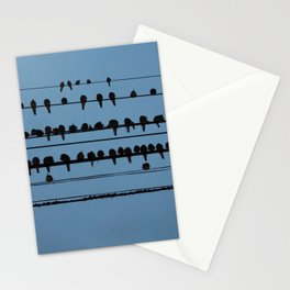birds on a wire feeling blue Stationery Cards