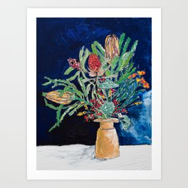 Yellow and Red Australian Wildflower Bouquet in Pottery Vase on Navy, Original Still Life Painting Art Print