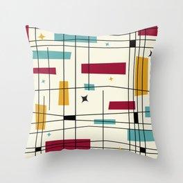 Mid Century Art Bauhaus Style 1950s Colors Throw Pillow