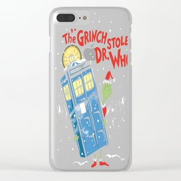 How The Grinch Stole Dr. Who (on Dark) Clear iPhone Case