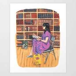 Purple Dress and Bookstore Art Print