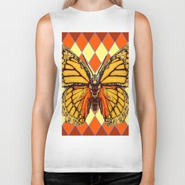 MONARCHS BUTTERFLY  &  ORANGE-BROWN HARLEQUIN PATTERN Biker Tank