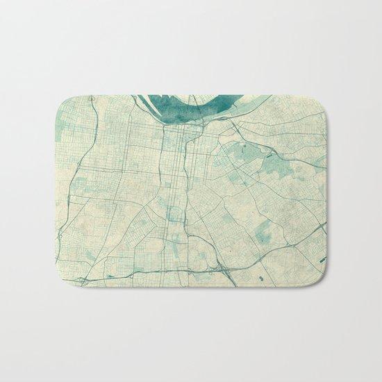 Louisville Map Blue Vintage Bath Mat