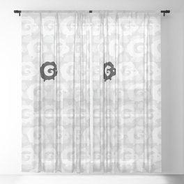 Black Sheep Pattern Sheer Curtain