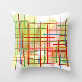 Abstract Lines Shapes Green and Yellow Throw Pillow