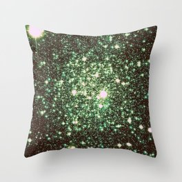 Green Gold Galaxy Sparkle Stars Throw Pillow