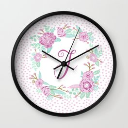 Monogram F - cute girls purple florals flower wreath, lilac florals, baby girl, baby blanket Wall Clock