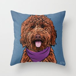 Icons of the Dog Park: Labradoodle Design in Bold Colors for Pet Lovers Throw Pillow