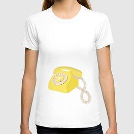 Yellow Vintage Phone // Retro Telephone Illustration T-shirt