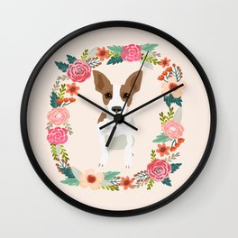 rat terrier floral wreath dog breed pet portrait pure breed dog lovers Wall Clock