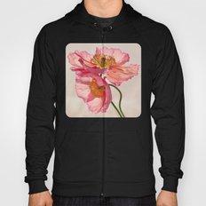 Like Light through Silk - peach / pink translucent poppy floral Hoody