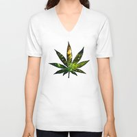 marijuana V-neck T-shirts featuring Marijuana Leaf - Design 3 by Spooky Dooky
