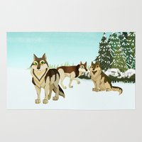 wolves Area & Throw Rugs featuring Wolves by Kileigh Gallagher