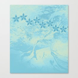 flowers in an abstract blue grunge landscape Canvas Print