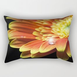 Macro of a water drop on orange gerbera flower with lens flare. Rectangular Pillow