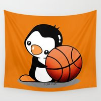 basketball Wall Tapestries featuring Basketball Penguin by joanfriends
